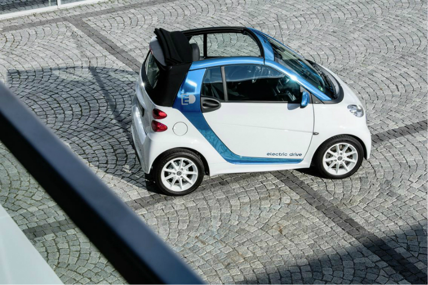 Daimler-biely smart fortwo electric drive kabriolet
