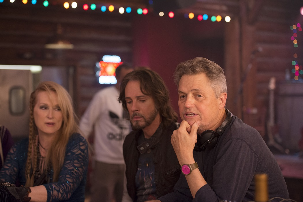 Meryl Streep, Rick Springfield and Director Jonathan Demme on the set of TriStar Pictures' RICKI AND THE FLASH.